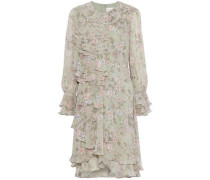 Ruffled floral-print chiffon dress
