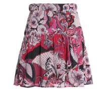 Gathered printed crepe mini skirt