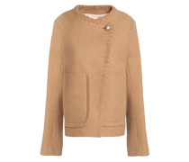 Whipstitched-trimmed wool-blend jacket