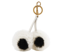 Woman Shearling And Leather Keychain White