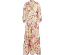 Woman Honour Plunge Tie-neck Floral-print Linen Maxi Dress Pastel Orange