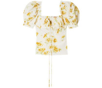 Trixie Floral-print Cotton And Silk-blend Voile Top Ecru