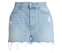 Distressed frayed denim shorts