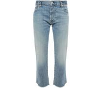 Frayed Faded Boyfriend Jeans Light Denim  6