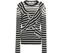 Ruffled Ribbed Striped Wool-blend Sweater Black