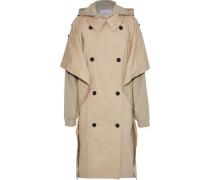 Oversized Layered Cotton-blend Gabardine Hooded Trench Coat Beige