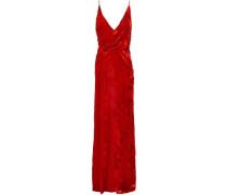 Gathered Devoré-velvet Gown Red