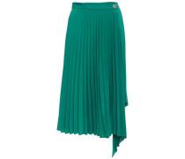 Woman Corie Asymmetric Pleated Crepe De Chine Midi Wrap Skirt Green