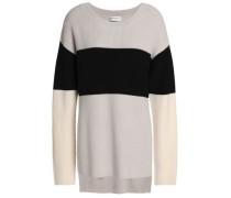 Color-block Merino Wool Sweater Light Gray