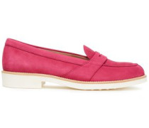 Textured Suede Loafers Magenta