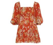 Shirred Floral-print Silk-georgette Mini Dress Orange
