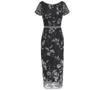 Embellished Embroidered Tulle Midi Dress Black