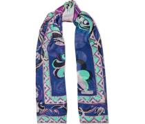 Printed Silk-chiffon Scarf Blue Size --