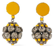 Woman Gold And Burnished Silver-tone, Crystal And Leather Clip Earrings Marigold