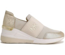 Woman Felix Woven-paneled Glittered Metallic-leather And Mesh Slip-on Sneakers Ivory