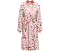 Embellished Pintucked Pleated Floral-print Silk Crepe De Chine Dress Baby Pink