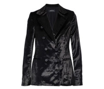 Double-breasted Velvet Blazer Black