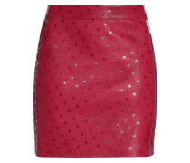 Printed Leather Mini Skirt Merlot