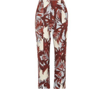 Syrah Cropped Printed Cotton-canvas Straight-leg Pants Brick