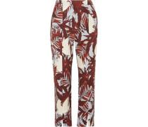 Syrah cropped printed cotton-canvas straight-leg pants