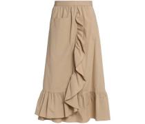 Wrap-effect ruffled cotton-blend poplin midi skirt
