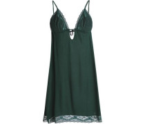 Corded lace-trimmed jersey slip dress