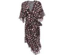 Asymmetric Ruffled Leopard-print Georgette Mini Dress Black