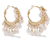 Verbier Gold-tone Quartz Hoop Earrings White Size --