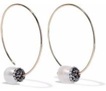 Gold-tone, crystal and faux pearl hoop earrings