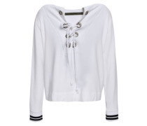 Lace-up Fleece Top White