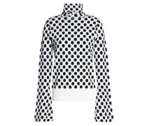 Polka-dot jacquard-knit turtleneck top