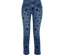 The Fling Flocked Mid-rise Slim-leg Jeans Mid Denim  3