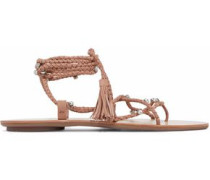 Crystal-embellished lace-up braided suede sandals