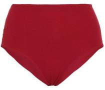 Elite Chantilly Lace-paneled High-rise Bikini Briefs Claret