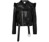 Convertible Leather Biker Jacket Black