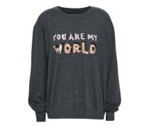 Embellished Cotton Sweater Dark Gray