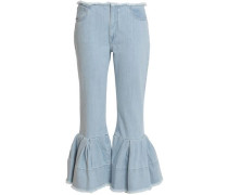 Cropped pleated mid-rise flared jeans