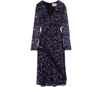 Woman Chantilly Lace-trimmed Pleated Floral-print Silk-georgette Dress Black