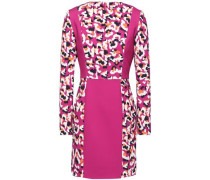 New Paneled Printed Stretch-crepe Mini Dress Fuchsia Size 14