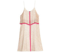 Embellished striped mini dress