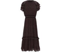 Tiered Floral-print Crepe Midi Dress Black