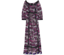 Lace-trimmed printed cotton and silk-blend maxi dress