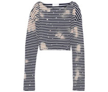 Woman Cropped Embellished Striped Cotton-jersey Top Midnight Blue