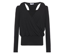 Woman Cold-shoulder Wrap-effect Jersey Top Black