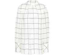 Pleated Checked Crepe De Chine Blouse Ivory