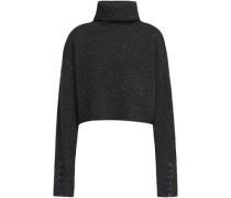 Folk Cropped Bouclé-knit Wool-blend Turtleneck Sweater Black