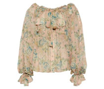 Woman Tempest Floral-print Silk-georgette Blouse Blush