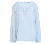 Crinkled-cotton Pajama Top Sky Blue Size 0