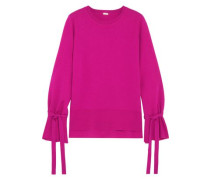 Bow-detailed Knitted Wool Top Fuchsia