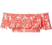 Mira Off-the-shoulder Ruffled Floral-print Stretch-cotton Bikini Top Papaya Size 0